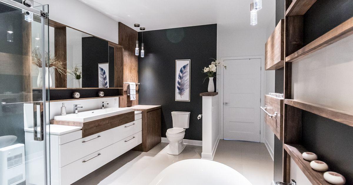 salle de bain moderne et chaleureuse inspirations la pi ce. Black Bedroom Furniture Sets. Home Design Ideas
